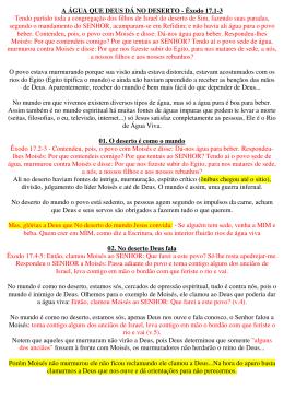 A ÁGUA QUE DEUS DÁ NO DESERTO - Êxodo 17.1