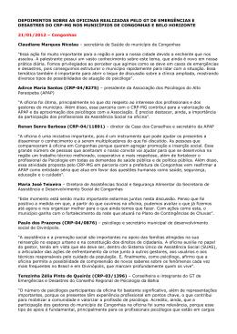 Confira - Conselho Regional de Psicologia de Minas Gerais