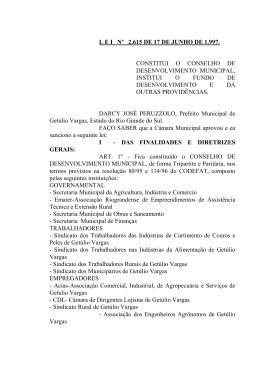 lei nº 2.615 de 17 de junho de 1.997. constitui o conselho de