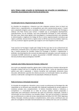 nota técnica sobre atuação de psicóloga(o)s em situações