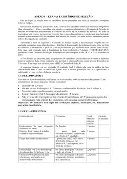 ANEXO 1 - ETAPAS E CRITÉRIOS DE SELEÇÃO Tempo