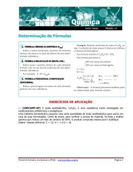 Determinação de Fórmulas - Portal de Estudos em Química
