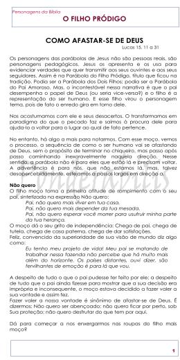 O FILHO PRÓDIGO COMO AFASTAR-SE DE DEUS