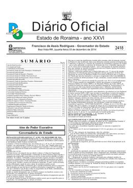 Diário Oficial - Imprensa Oficial do Estado de Roraima
