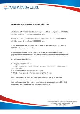 Informações para se associar ao Marina Barra Clube