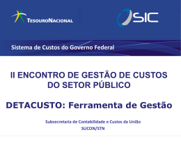 objeto de custos - Secretaria do Tesouro Nacional