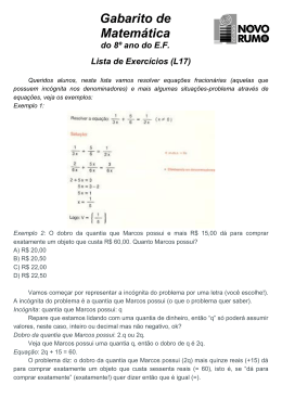 Gabaritos da Lista L17 de Matemática