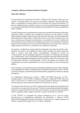 Avaliação e Reforma do Sistema Educativo Português Pedro Silva