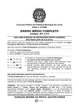 ENSINO MÉDIO COMPLETO Códigos: 201 a 213