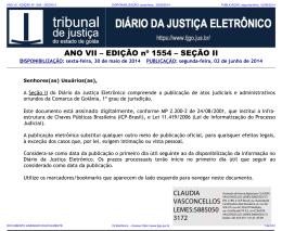 TJ-GO DIÁRIO DA JUSTIÇA ELETRÔNICO - EDIÇÃO 1554