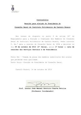 Convocatória para a eleição do Presidente do Órgão