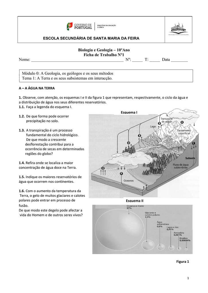 Biologia e Geologia – 10ºAno Ficha de Trabalho Nº1 Nome: Nº