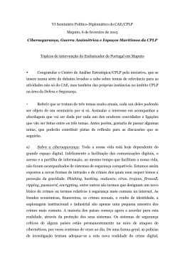 VI Seminário Político-Diplomático do CAE/CPLP Maputo, 6 de