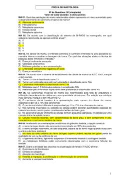 PROVA DE MASTOLOGIA Nº de Questões: 50 (cinqüenta