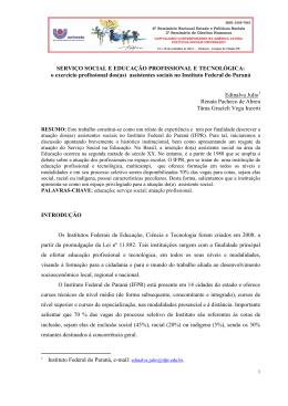 SERVIÇO SOCIAL E EDUCAÇÃO PROFISSIONAL E TECNOLÓGICA