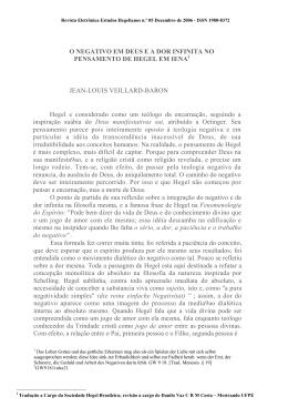 O Negativo em Deus e a dor infinita no pensamento de Hegel em Iena