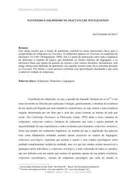 PANTEÍSMO E SOLIPSISMO NO TRACTATUS DE