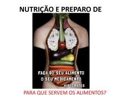 NUTRIÇÃO E PREPARO DE ALIMENTOS