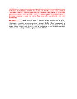 PERGUNTA 01 – No plano de mídia, será apresentado as opções