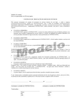 Modelo de contrato Deve ser apresentado em 03(vias) iguais