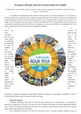 Programa Cultivando Água Boa será apresentado em