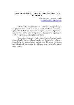 UM GÊNERO TEXTUAL A SER APRESENTADO NA ESCOLA