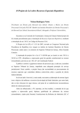 Projeto de Lei sobre Recursos Especiais