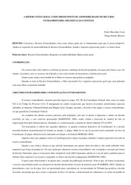 A REPERCUSSÃO GERAL COMO PRESSUPOSTO DE