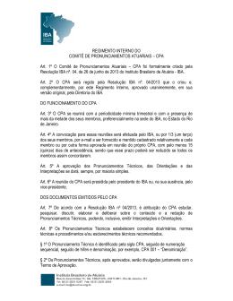Regimento Interno - Instituto Brasileiro de Atuária