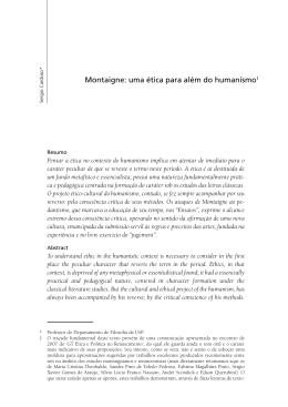 Montaigne: uma ética para além do humanismo
