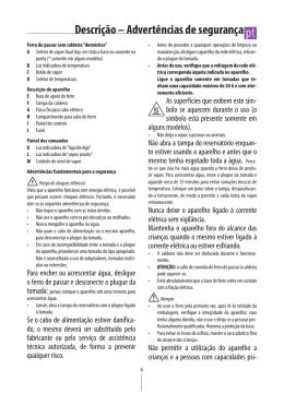 Descrição – Advertências de segurança