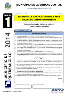 Prova - Professor De Educação Infantil - Tipo 1