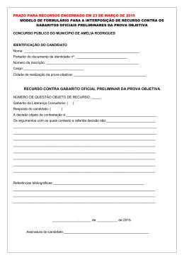 recurso contra gabarito oficial preliminar da prova objetiva