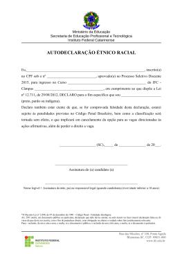 Autodeclaração PPI (preto, pardo ou indígena) - IFC