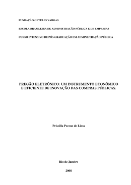 PREGÃO ELETRÔNICO: UM INSTRUMENTO - ECG / TCE-RJ