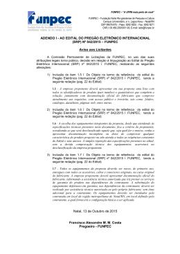 ADENDO I - AO EDITAL DO PREGÃO ELETRÔNICO