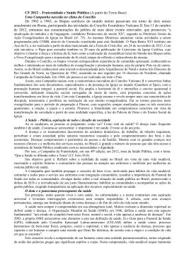 CF 2012 – Fraternidade e Saúde Pública (A partir do Texto Base