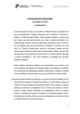 CONSELHO DE MINISTROS 6 de junho de 2013 (continuação)