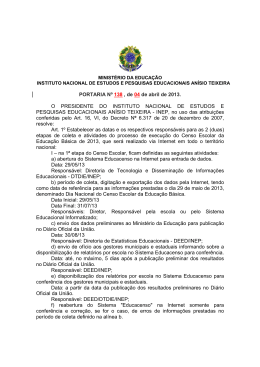 (Portaria nº 138 Cronograma EducaCenso 2013)
