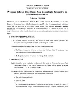 Clique aqui e baixe o arquivo - Prefeitura Municipal de Sabará