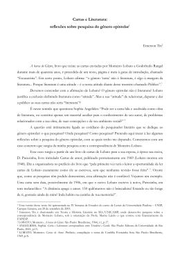 Cartas e Literatura: reflexões sobre pesquisa do gênero