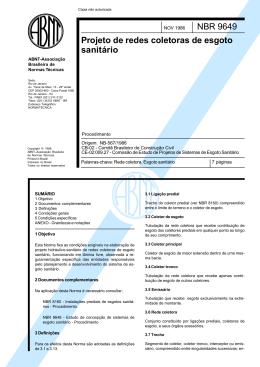 NBR 9.649 – Projeto de Redes de Esgoto