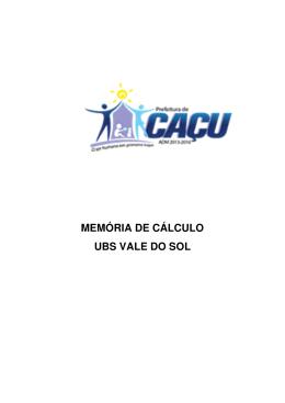 MEMÓRIA DE CÁLCULO UBS VALE DO SOL