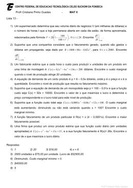 Profa Cristiane Pinho Guedes - MAT II Lista 13