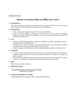 PRODUTO INTERNO BRUTO (PIB) PER CAPITA