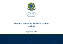 Pesquisa - Violência doméstica e familiar contra as mulheres