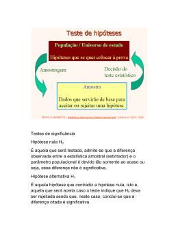 Testes de significância Hipótese nula H0 É aquela que será testada
