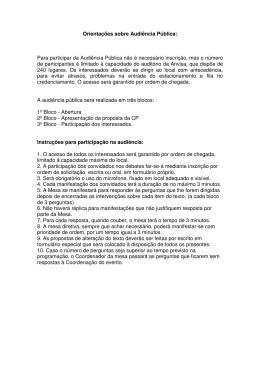 Instruções para participação em Audiência Pública