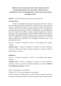 proposta de alteração estatutária aprovada pelo conselho