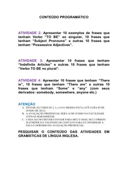CONTEÚDO PROGRAMÁTICO ATIVIDADE 2: Apresentar - CRA-MA